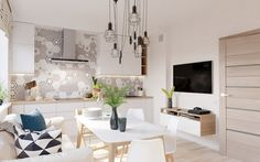 Modern Home Accents White Wood - 4 Bright & Cheerful Interiors That Use White & Wood To Good Effect Beige Living Rooms, Living Room Paint, Modern Interior Design, Modern Decor, Pink Bedroom Walls, Girls Bedroom, Hanging Lamp Design, Interior Door Knobs, Futuristisches Design