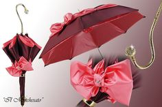 This italian luxury umbrella is elegant and exclusive. It is affixed with a beautiful satin bow, decorated with Swarovski crystals. The handle, shaft and accessories are finished in gold. Manual openi