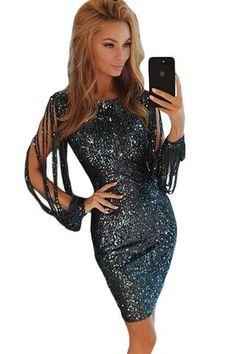 75ec77241de Black Sequin Tassel Sleeve Her Fashion Bodycon Evening Party Dress   womensfashion  dresses  party