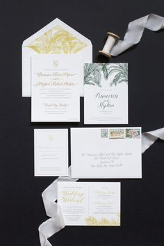 December wedding in the Virgin Islands. A custom wedding invitation suite designed by Fourteen Forty, featuring palm tree details. Photography: Lindsay Vann Photography / Planning: Island Style Weddings / Invitations & Day-of Stationery: Fourteen-Forty / Venue: Trunk Bay Beach, U.S. Virgin Islands #fourteenforty #1440nyc #weddinginvitations #customweddinginvitation #weddingplanner #virginislands #destinationwedding #beachwedding #tropicalwedding #vintagestamps #palmtree #blindembossing