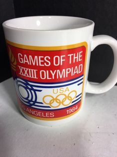 VTG  1984 LOS ANGELES OLYMPIC GAMES  COFFEE MUG CUP BY PAPEL XXIII Olympiad #UnitedStates