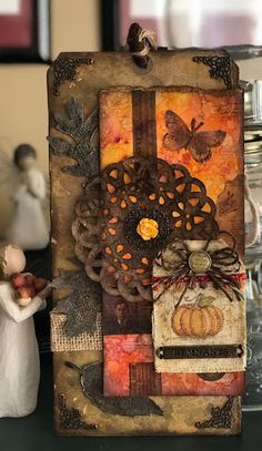 Crazy for Autumn Colour- Oct 2017 , Pinworthy Winner : Mary Elizabeth Halloween Tags, Halloween Countdown, Arts And Crafts, Paper Crafts, Handmade Gift Tags, Shabby Vintage, Shabby Chic, Thanksgiving Cards, Paper Tags