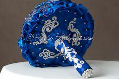 Azul Royal boda broche Bouquet. Depósito azul por Rubybloomscom