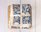 Chenille Baby Blanket/Floral Baroque/Orange, Navy, Teal and Cream