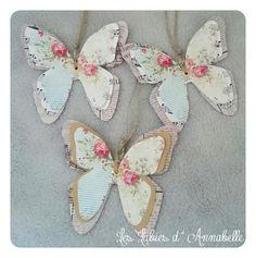 3 étiquettes papillons de papier style Shabby Chic : Accessoires de maison par leslubiesdannabelle