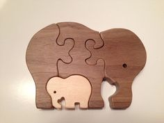 Wooden Elephant Family Puzzle by NaturalKnotWood on Etsy