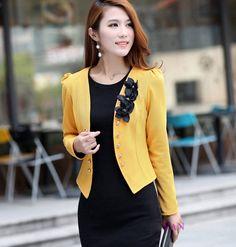 Jacket Woman Blazer Slim Puff Long Sleeve Short Small Suit Plus L-5XL Black Yellow White 5 Colors Blazer for Women