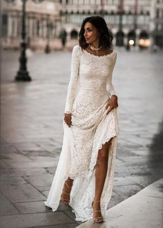Jade Dress - Boho Wedding Dress, Indie Wedding Dress, Hippie Wedding Dress, Modest Wedding Dress, Long Sleeve We - Indie Wedding Dress, Long Wedding Dresses, Bridal Dresses, Wedding Gowns, Unique Wedding Dress, Wedding Dresses For Older Women, Bridesmaid Dresses, Older Women Wedding Dresses, Casual Lace Wedding Dress