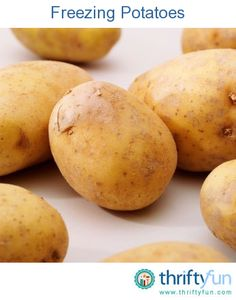 This is a guide about freezing potatoes. Cooked potatoes work best for freezing. Fresh potatoes can be frozen but the texture is often altered. Potatoes are often frozen in the form of French fries, shredded potatoes and diced potatoes. Freezing Potatoes, Freezing Vegetables, Frozen Potatoes, How To Cook Potatoes, Veggies, Growing Vegetables, Fresh Potato, Raw Potato, Potato Soup