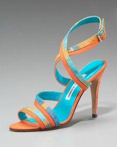 "Ah Manolo Blahnik, my friend ... just bought these!  ""Peculiamo Colorblock Lizard Sandal"""