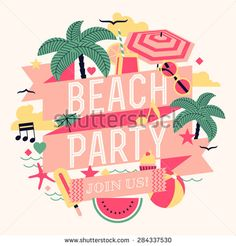 Beautiful beach party design element with palms, beach items, music notes and more. Ideal for seasonal event poster, web banner or invitation - stock vector