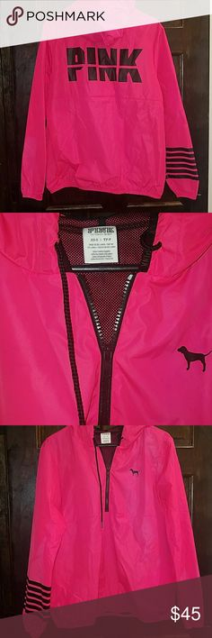VS PINK ANORAK XS/ SMALL  THIS ONE IS NOT FLEECE LINED  VERY PRETTY SHADE OF PINK WITH BLACK LOGOS. 1/4 ZIP HOODED RAIN JACKET ANORAK WINDBREAKER  FROM VS PINK!  NEW WITHOUT TAGS!! PERFECT FOR SOMEONE'S XMAS GIFT!!  NO TRADES SORRY  HAPPY POSHING! PINK Jackets & Coats