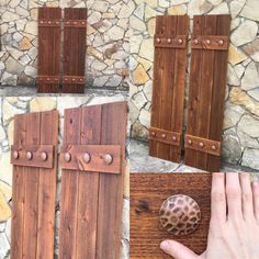New and exciting to end out week on. These are the Biggest copper hammered clavos we've ever installed on a set of Rustic Crdar shutters. They will definitely be a talking point when they arrive at their new home! Window Shutters Exterior, Cedar Shutters, Farmhouse Shutters, Rustic Shutters, Diy Shutters, Modern Farmhouse Exterior, Homemade Shutters, Black Shutters, Front Porch Remodel