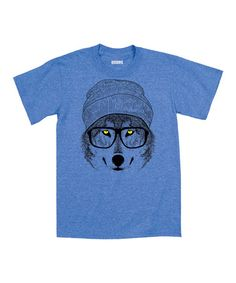 Another great find on #zulily! Heather Royal Hipster Wolf Short Sleeve Tee #zulilyfinds