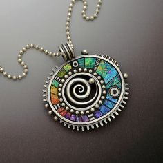 Sterling silver pendant necklace with rainbow iridescent mosaic inlay polymer clay sterling bead ball chain