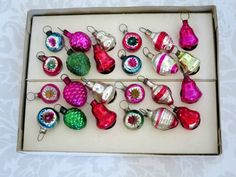 Vintage Rare Micro Miniature Indent Bell Pine Cone Ornaments  /  Mini Dollhouse Christmas Tree Ornaments  /  Christmas Xmas Holiday Decor - pinned by pin4etsy.com