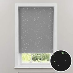 Fashioned with a glow in the dark star pattern on a versatile grey backing, this cordless blackout roller blind will bring a touch of magic to any room by invit. Nursery Blinds, Dark Nursery, Sheer Roller Blinds, External Lighting, Dark Star, Woodland Nursery Decor, Blinds For Windows, Wall Colors