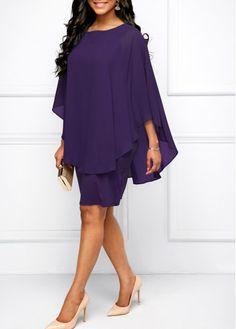 Chiffon Overlay Round Neck Purple Dress