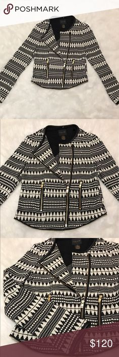 As by DF Beautiful Black & White Jacket Small Worn once, beautiful ladies black and white zip up jacket/blazer by AS by DF carried by anthropologie. Anthropologie Jackets & Coats