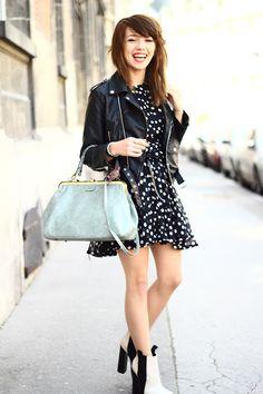 polka dot, boots, jacket