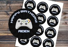 Video Game Cupcake topper - Video Game Birthday Party - Game Truck - Gamer - Boy -Digital - Video Game Favor Tag - Sticker - YOU PRINT - DIY by EniPixels on Etsy https://www.etsy.com/listing/241025688/video-game-cupcake-topper-video-game