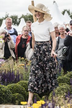 Crown Princess Mary of Denmark attends opening of the CPHGarden2017 exhibition at Valby Park (Valbyparken) on June 21, 2017 in Copenhagen and christened a new rose CPGHGarden bloom.
