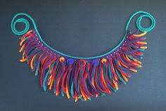 Crochet statement necklace cotton thread african style large fringe OOAK cn0020
