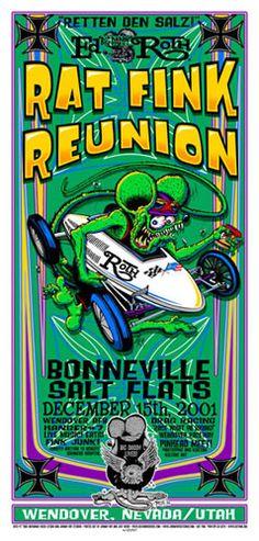 Ed Roth Rat Fink Reunion     Bonneville Salt Flats   12/15/2001   Artist: Johnny Ace and Jeff Wood - Drowning Creek