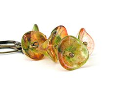 Glass flowers cascade earrings in lime green and cranberry red $13