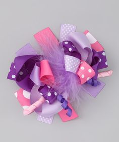 Take a look at this Lavender & Pink Feather Bow Clip by Diva Daze on #zulily today!