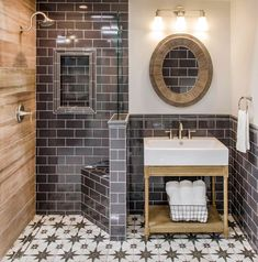 Achieve a modern farmhouse bathroom design by combining traditional elements with a modern twist. Hexagonal, subway, encaustic, patterned and natural wood-look tiles all bring elements of modern farmhouse style to your home. Complete the look with painted cabinetry and warm tones for a unique blend of traditional and contemporary.
