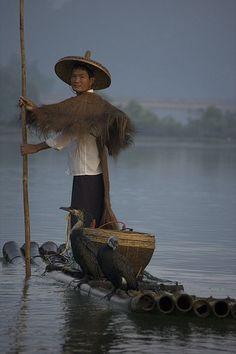 Fishing with Cormorants.  Location: near Yangshuo, Guangxi Zhuang Autonomous Region.  China.