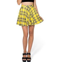 Yellow Plaid Print Elastic Waist Pleated Skirt ($18) ❤ liked on Polyvore featuring skirts, yellow, yellow skirt, white knee length skirt, white pleated skirt, yellow tartan skirt and tartan skirt