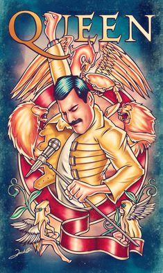 Ilustração sobre uma das maiores bandas de todos os tempos, o Queen! Na arte vemos o incrível vocalista Freddie Mercury com sua clássica jaqueta amarela, cercado pelo brasão da banda inglesa.