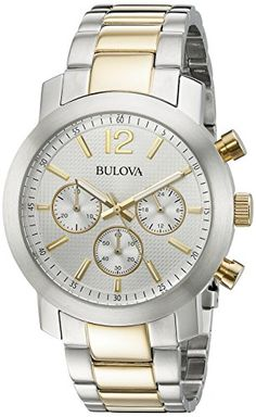 Men's Wrist Watches - Bulova Mens 98A145 TwoTone Stainless Steel Watch >>> You can get more details by clicking on the image.