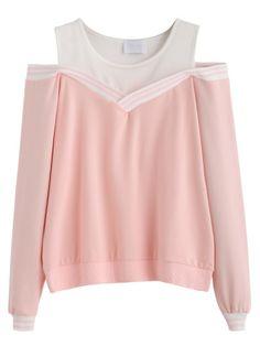 Sweat-shirt bicolore épaules nues - rose