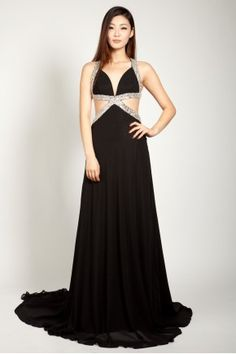 Black Cut-out Backless Evening Dress with Beaded Cross Strapping Bridesmaid Dresses, Prom Dresses, Formal Dresses, Wedding Dresses, Dresses 2013, Prom Dress 2013, Special Occasion Dresses, Ball Gowns, Evening Dresses