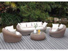 salon de jardin whiteheaven en rsine tresse caramel canap 2 fauteuils et table basse - Salon De Jardin Fauteuil