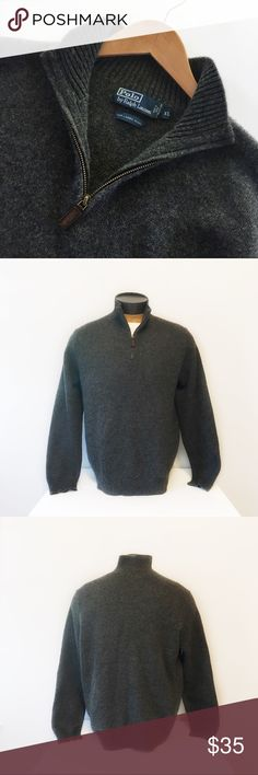 Men's Polo by Ralph Lauren Gray Wool Sweater Polo by Ralph Lauren wool pullover sweater in dark gray. Zip at the chest with leather pull-tab.  Deets: * Size XL * 100 Italian Lambs Wool * Ribbed collar, bottom and cuffs * Dry Clean * EUC like new * Pet free Smoke free  Measurements taken flat ▫️Chest: ▫️Length:  E.9.17 Polo by Ralph Lauren Sweaters Zip Up