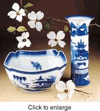 Mottahedeh Blue Canton Trumpet Vase - click to enlarge