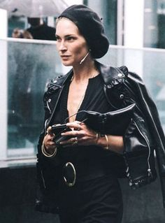 Black-on-black for the win! Model Model Erin Wasson was snapped on the rainy streets of New York City in a killer all-black look. To top it off she added an incredibly chic black beret, which we predict will be best hat of the season. Keep scrolling to see her model-off-duty look and how to pull it off, then head over to Collage Vintage for more photos! via @WhoWhatWear
