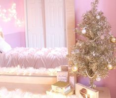 A personal tour of my pink/gold/ girly/vintage holiday room makeover! Cosy Christmas, Christmas Bedroom, Whimsical Christmas, Shabby Chic Christmas, Christmas Wonderland, Christmas Time Is Here, Christmas Home, Christmas Holidays, Winter Wonderland