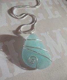 Aqua Sea Glass Silver Wirewrapped Bridesmaid  Necklace -Scottish Seaglass- Necklace-Beachwear Bridal-Wirewrapped. $16.00, via Etsy.