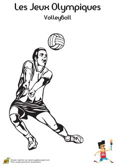 Coloriage d'un joueur de Volley-ball pendant une réception de balle