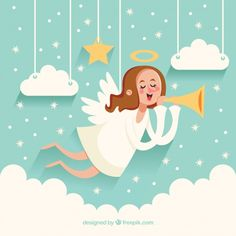 Cute christmas angel background with trumpet Free Vector