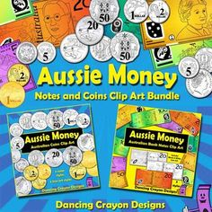 Australian money clip art - both coins and bank notes in a value bundle.  Great for creating math-related teaching resources.  $ Australian Money, Special Education Math, Gold Room Decor, Coin Art, Money Games, Anzac Day, Math Numbers, Teaching Resources, Classroom Resources