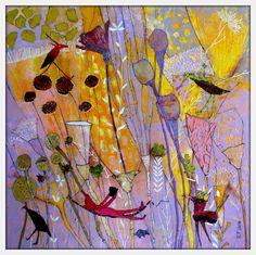 Elke Trittel acrylic,collage on board 60x60cm