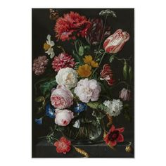 Poster Still Life with a Flower Vase by Jan Davidsz de Heem Marlow Home Co. Format: Without frame, Size: H x W x D vase vase vase vase vase vase beton painting sketch vase ideas Painting Prints, Wall Art Prints, Poster Prints, Canvas Prints, Home Flower Arrangements, Flower Vases, Baroque Art, Spring Flowers, Pink