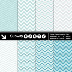 INSTANT DOWNLOAD Soft Tiffany Blue, Teal, Silver & White Digital Papers Pack of Chevron Patterns. Scrapbook / Invites DIY 8x11, 12x12 jpg.