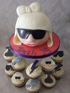 Lady Gaga Cake with Cupcakes